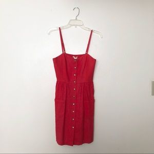 Urban Outfitters Cherry Red Button Down Dress